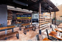 vibrant interior finishes with modern industrial styling Restaurant Design Concepts, Restaurant Concept, Cafe Design, Industrial Restaurant, Modern Restaurant, Restaurant Ideas, Interior Design Books, Modern Interior Design, Bar A Burger