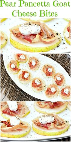 So Easy to put together and a big hit at my party! Healthy Pear Pancetta Goat Cheese Appetizer Bites - Low Calorie, Low Fat Recipe #sundaysupper