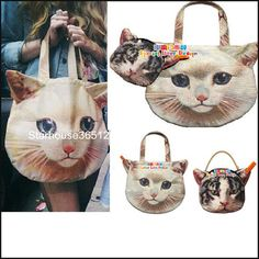 €15.27 Muchacha Ahcahcum Cat Face Tote Bag + Handbag Japan set of 2 FREE Shipping