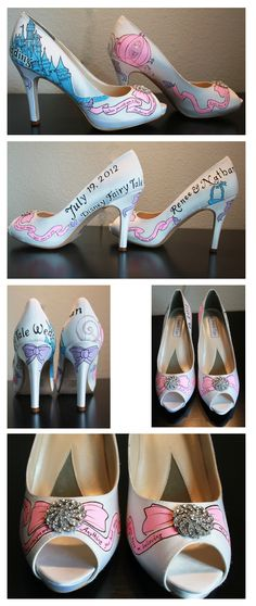 Custom designed and colored wedding shoes! These are for a Disney wedding, but the artist can do literally anything you want! So pretty