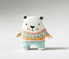 Clay animal - Bear hugs - Miniature figurine - Ursus, the polar bear. £25.00, via Etsy.