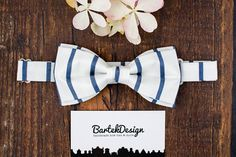 White Bow Tie Stripped Bow Tie for Men Wedding Bow Tie for