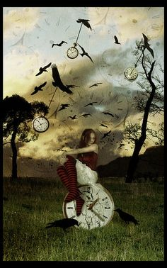 with crows Surrealism Photography, Conceptual Photography, Dark Photography, Dali, Fantasy World, Fantasy Art, Clock Art, Clocks, Matrix