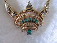 Vintage CORO Emerald Necklace by Lavendergems on Etsy, $38.00