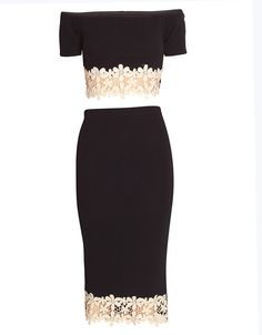 TWO PIECE CROCHET CELEBRITY INSPIRED FLORAL LACE TRIM TWIN CO-ORD SET NAVY BLUE £ 14.95
