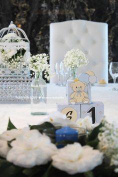 Identificação de Mesa | Batizado Ursinho baptism decoration // party decorations ideas // little bear