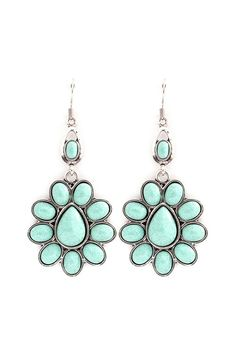 Light Mint Flower Drop Earrings