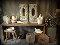 Love the two matching pieces on right of hard wood table Decorating Ideas, Decor Ideas, Hard Wood, Rustic Charm, Wood Table, Vintage Decor, Beautiful Homes, Entryway Tables, Sweet Home
