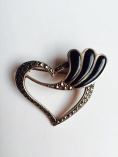 Silver Heart with Marcasites and Onyx Stones by VintageVixens1 on Etsy