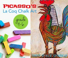 Inspired by Picasso's painting, La Coq, kids use a combination of oil and chalk pastels to draw a cubist rooster. Easy art activity that takes less than an hour.