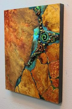 """""""Artifacts"""" 20x16 inches, by Carol Nelson I went overboard in the texture on this painting. It has rocks and handmade clay spirals on..."""