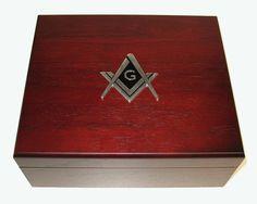 50 Cigar Masonic Masons Walnut Cigar Humidor Gift Display Presentation Box
