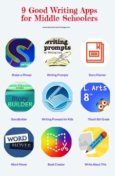 9 Good Writing Apps for Middle Schoolers - a collection of some good iPad apps to use with your middle school students. These are apps to help students enhance their writing skills and improve their grasp of language. Writing Prompts For Kids, Writing Lessons, Kids Writing, Writing Skills, Start Writing, Creative Writing, Best Educational Apps, Educational Technology, Educational Leadership