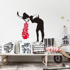banksy-lovesick vinyl wall decal sticker Home Art Decor Decal  mural wallpaper  for home  wall art  80*95CM  Free shipping $13.39