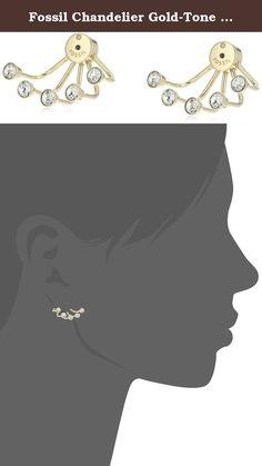 Fossil Chandelier Gold-Tone Earring Jacket. Polished chandelier ear jackets adorned with sparkling bezel-set rounds. Imported.