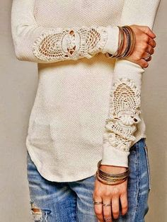 Lots of ideas for incorporating crocheted doilies into clothing on Rhonda's Creative Life: Monday Morning Inspiration