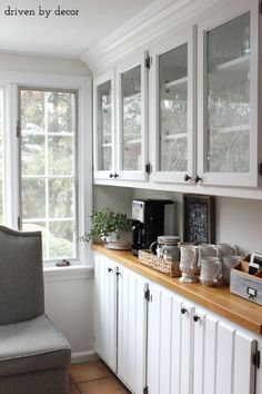 Kitchen bar area with coffee station - love this!