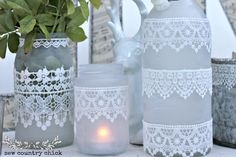 DIY Etched and lace mason jars and bottles tutorial...these are lovely!!