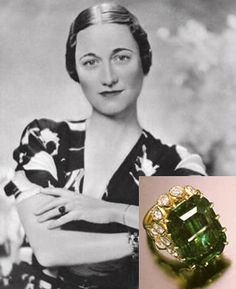 "Wallis Simpson Emerald Engagement Ring. Engagement of American socialite Wallis Simpson & Former King Edward VIII of Wales. The 19.77 carat green emerald engagement ring that sealed their union earned its place in our collective memory as one of the most stunning engagement rings of all time. The ring was engraved with a romantic personal message: ""We are ours now 27 X 36."" The numbers refers to the day that Edward proposed: October 27, 1936."