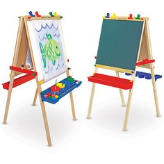 This double-sided, wooden easel from Melissa & Doug features both chalk and dry erase-boards. The set also includes a locking paper roll, a child-safe paper cutter and easy-clean storage.