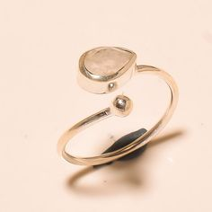 92.5% SOLID STERLING SILVER LAVISH RAINBOW MOONSTONE NICE RING (Adjustable)  #Handmade
