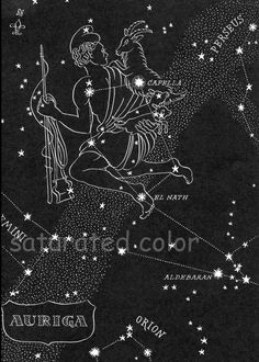 Lyra & Aquila Night Sky Star Chart Map -  Northern Stars Constellations from 1948 Astronomy Textbook