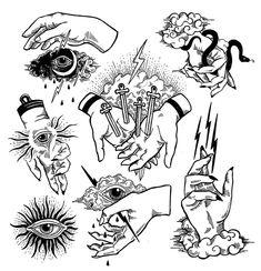 Hand of God Mini Art Print by polkip Flash Art Tattoos, Tattoo Flash Sheet, Body Art Tattoos, Small Tattoos, Arm Tattoo, Sleeve Tattoos, Lion Tattoo, Traditional Tattoo Art, Tattoo Stencils