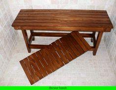 wood shower bench