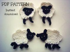 Crochet applique pattern crochet sheep applique by Thehobbyhopper