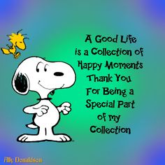 Snoopy good life, thanks for being part of my collection Charlie Brown Und Snoopy, Charlie Brown Quotes, Peanuts Quotes, Snoopy Quotes, Hug Quotes, Peanuts Cartoon, Peanuts Snoopy, Snoopy Pictures, Peanuts Characters