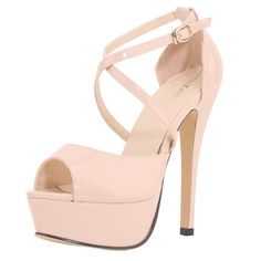 ZriEy Women's Sexy Noble Platform Sandals Ankle Strap High Heels for Cocktail Prom Party Wedding Dancing Shoes Nude Size 6.5 /37 M EU. Manmade Material(Patent Leather)/Patent PU. Heel Height:14cm (5.5 Inches). Concealed Platform:4 cm (1.57 Inches). Heel shape:Stiletto heel. ZriEy shoes suitable with all kinds of clothing and for virtually every occasion.And each pair of shoes have strictly tested before delivery, to ensure that each pair of shoes is high quality.