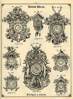 Product catalogue, cockoo clocks, Kuckucksuhren, 1900. Black Forrest, Furtwangen