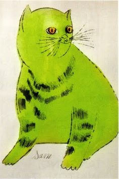 Andy Warhol |  25 Cat [sic] Named Sam And One Blue Cat | hand coloured lithograph from eighteen cat prints that comprised the rare cat book published in 1954 /sm