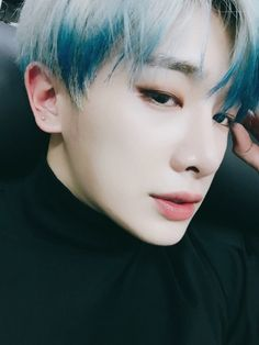 Shin Ho-seok (신호석) also known mononymously as Wonho (원호) of MONSTA X | He always looks so incredibly handsome!! I just loved it when he had that blue and white hair!! ❤❤