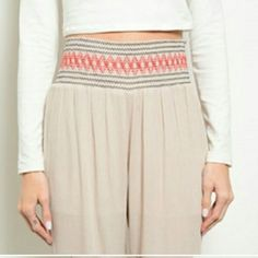 Genie pants Adorable taupe/light beige colored genie style pants. High waisted, adorable with a crop top. Brand new, with tags. Lightweight, comfy - perfect for summer evenings. Get them now! Pants