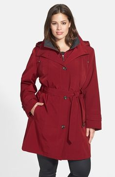 Gallery Two-Tone Belted Raincoat with Detachable Hood & Liner available at #Nordstrom