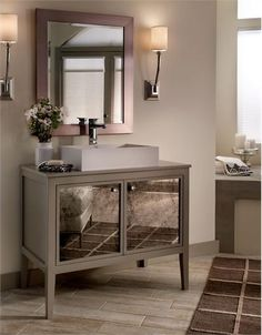 silver painted bathroom vanity | Transitional Vanity with Antique Mirror Panels FNVS36T from MTI