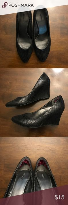 Faux snakeskin pointed wedges After market padding added in heel(see pic) | Normal wear | perfect shoe for work or a girl's night out! Express Shoes Wedges