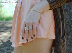 muses & rebels thread bracelet - gold bar + beaded ring + spike ring  http://musesandrebels.com/shop/thread-bracelet-gold-bar.html