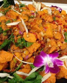 Roasted Sweet Potato and spinach salad - perfect pre-race fuel - vegan, gluten free, dairy free