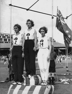 Decima Norman, Jean Coleman and Eileen Wearne win gold, silver and bronze medals for Australia in the 220 yard sprint, Empire Games, Sydney, 11 February 1938 / photographer Sam Hood  Find more detailed information about this photographic collection: http://acms.sl.nsw.gov.au/item/itemDetailPaged.aspx?itemID=23742      From the collection of the State Library of New South Wales http://www.sl.nsw.gov.au