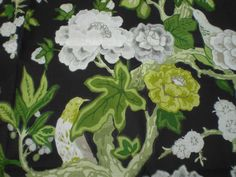"SCHUMACHER FABRIC REMNANT ""BERMUDA BLOSSOM"" BY M MACDONALD 95X145 CM LINEN BLEND in Crafts, Sewing & Fabric, Fabric 