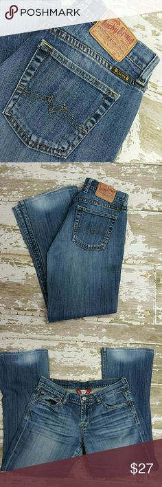 Lucky Brand Sweet N Low Good condition, shows somewhere which leads to beautiful distressing!  4/27 Lucky Brand Jeans Boot Cut