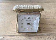 Vintage Beige Mechanical Alarm Desk Clock by Europa 2 Jewels - Vintage Golden Travel Clock Alarm Companies, Travel Alarm Clock, Security Cameras For Home, Desk Clock, Home Security Systems, Beige Color, Vintage Travel, Satin Fabric, Vintage Items