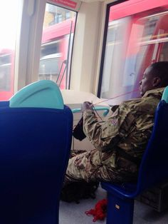 hummusrevolutionaryfront:  'Just had my day brightened up. Big Caribbean army bloke in front of me on the DLR knitting. Old lady turns to hi...