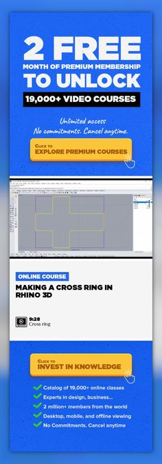 Making a Cross Ring in Rhino 3D Jewelry Design, 3D Design, CAD, 3D Modeling, Creative, UI/UX Design #onlinecourses #onlinecourses #freeonlinelearning   This Video show you how to make a simple cross ring in Rhino 5 with simple Rhino commands. For more information, please check on http://www.pjchendesign.com and like our FB page at http://www.facebook.com/pjchendesign
