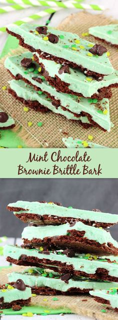Brownie Brittle Bark Mint Chocolate Brownie Brittle Bark - an easy, no bake treat that'd make a great gift for neighbors and friends!Mint Chocolate Brownie Brittle Bark - an easy, no bake treat that'd make a great gift for neighbors and friends! Candy Recipes, Sweet Recipes, Holiday Recipes, Dessert Recipes, Yummy Recipes, Easy No Bake Desserts, Just Desserts, Delicious Desserts, Mint Chocolate Chips