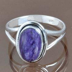 925 SOLID STERLING SILVER EXCLUSIVE CHAROITE RING 3.60g DJR9141 SIZE-9.25 #Handmade #Ring