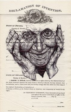 'we are all clowns with too much face paint' Bic biro drawing on 1880s US citizenship form. By Mark Powell.
