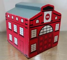 Wood Red Fire Station Department House Wooden Train Building Accessory